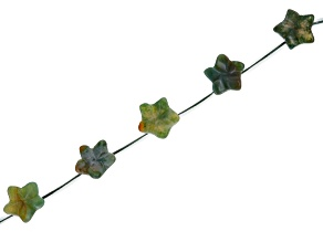 """Pre-Owned Moss Agate 15mm Flower Shape Bead Strand Appx 15-16"""""""