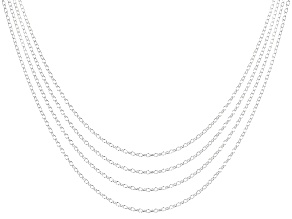 """Pre-Owned YouTube Only 18"""" Rolo Chain 4 Piece Set in Sterling Silver"""