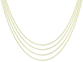 """Pre-Owned YouTube Only 18"""" Rolo Chain 4 Piece Set in 18K Gold Over Silver"""