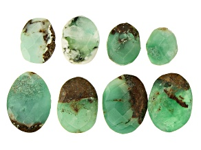Pre-Owned YouTube Only Chrysoprase in Matrix Faceted Oval appx 11x8-15x12mm Beads 16 pieces