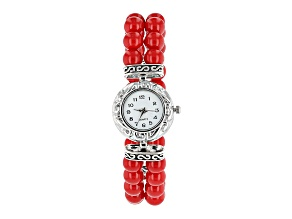 Pre-Owned Pacific Style™ 8mm Round Red Coral Rhodium Over Sterling Silver Double Strand Stretch Watc