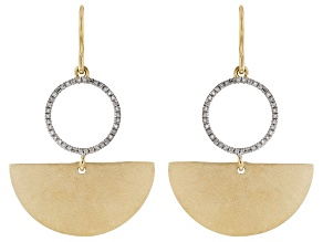 Pre-Owned White Diamond 14k Yellow Gold Over Sterling Silver Satin Matte Dangle Earrings 0.15ctw