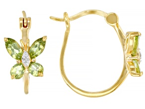 Pre-Owned Green Peridot and Diamond Accent 18K Yellow Gold Over Sterling Silver Earrings. 1.42ctw