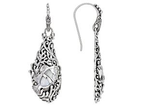 Pre-Owned White Mother-of-Pearl Sterling Silver Earrings