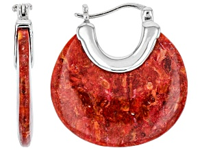 Pre-Owned Red Coral Rhodium Over Sterling Silver Earrings