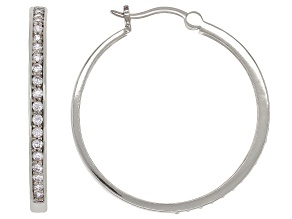 Pre-Owned White Cubic Zirconia Rhodium Over Sterling Silver Hoop Earrings 1.18ctw