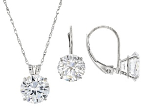 Pre-Owned White Cubic Zirconia 10k White Gold Earrings And Pendant With Chain 10.38ctw