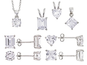 Pre-Owned White Cubic Zirconia Rhodium Over Sterling Silver Earrings And Pendants With Chain Set of