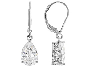 Pre-Owned White Cubic Zirconia Rhodium Over Sterling Silver Earrings 5.94ctw