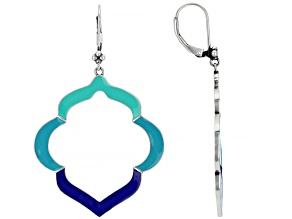Pre-Owned Multi-Color Enamel Sterling Silver Dangle Earrings