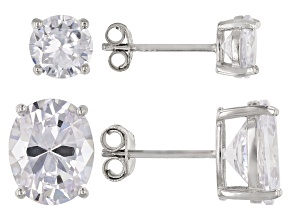 Pre-Owned White Cubic Zirconia Rhodium Over Sterling Silver Stud Earrings Set 8.37ctw