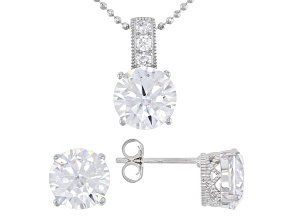 Pre-Owned White Cubic Zirconia Platineve Pendant With Chain And Earrings Set