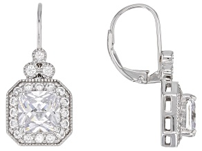 Pre-Owned White Cubic Zirconia Rhodium Over Sterling Silver Earrings 3.28CTW