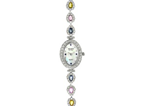 Pre-Owned 3.04ctw multi Sapphire 6ctw White Zircon Mop Dial Sterling Silver Watch