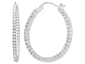 Pre-Owned Bella Luce® 5.52ctw Diamond Simulant Rhodium Over Silver Oval Hoop Earrings