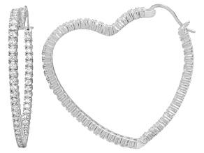 Pre-Owned Bella Luce® 6.60ctw Diamond Simulant Rhodium Over Silver Heart Hoop Earrings
