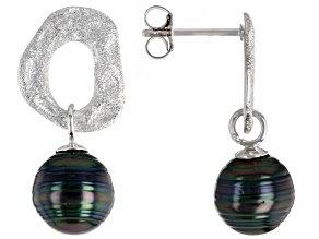 Pre-Owned Cultured Tahitian Pearl Rhodium Over Sterling Silver Earrings
