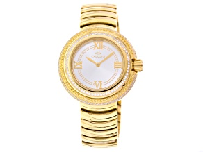 Pre-Owned Oniss Ladies White And Champagne Crystal Yellow Watch