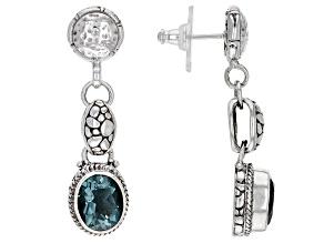 Pre-Owned Teal Fluorite Sterling Silver Dangle Earrings 5.50ctw