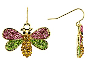 Pre-Owned Multi-color Crystal Gold Tone Bee Earrings