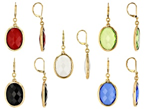 Pre-Owned Multi-color Crystal Gold Tone Earring Set of 5
