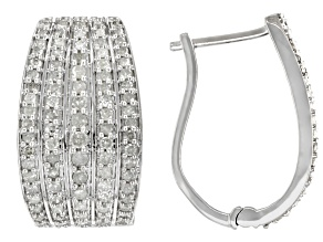 Pre-Owned White Diamond Rhodium Over Sterling Silver J-Hoop Earrings 1.50ctw