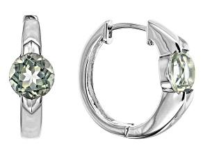 Pre-Owned Green Prasiolite Rhodium Over Sterling Silver Hoop Earrings 2.25ctw