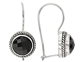 Pre-Owned Black Spinel Sterling Silver Earrings 4.16ctw