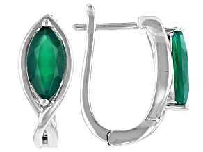 Pre-Owned Green Onyx Rhodium Over Sterling Silver Earrings 1.43ctw