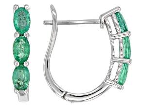 Pre-Owned Green Ethiopian Emerald Rhodium Over 10k White Gold J-Hoop Earrings 1.27ctw