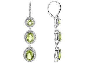 Pre-Owned Green Peridot Rhodium Over Sterling Silver Earrings 12.25ctw