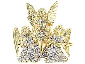 Pre-Owned  White Crystal 14K Gold Over Base Angel Brooch