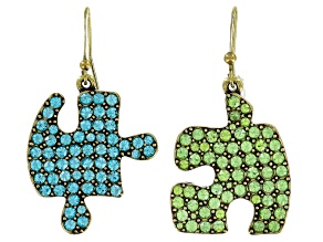 Pre-Owned Multicolor Crystal Antiqued Gold Tone Puzzle Piece Dangle Earrings