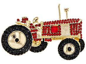 Pre-Owned Off Park ® Collection Multicolor Crystal Gold Tone Tractor Brooch