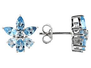 Pre-Owned Blue topaz rhodium over silver earrings 2.49ctw