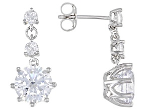 Pre-Owned White Cubic Zirconia Rhodium Over Sterling Silver Earrings 7.64ctw (4.52ctw DEW)