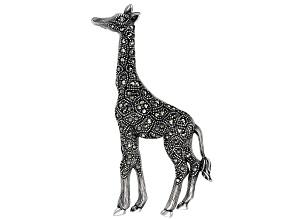Pre-Owned White topaz sterling silver giraffe brooch .02ct