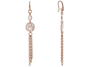 Pre-Owned Moda Al Massimo™ 18K Rose Gold Over Bronze Drop Coin Tassels with White Crystal Earrings
