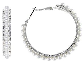 Pre-Owned Freshwater Pearl Simulant Silver Tone Hoop Earrings