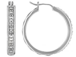 Pre-Owned White Diamond Rhodium Over Sterling Silver Hoop Earrings 0.25ctw