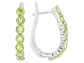 Pre-Owned Green Peridot Rhodium Over Sterling Silver Hoop Earrings 3.80ctw