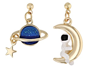 Pre-Owned Gold Tone Blue and White Enamel Celestial Dangle Earrings