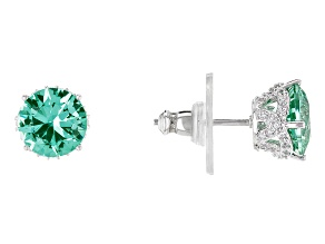 Pre-Owned Lab Created Green Spinel & White Cubic Zirconia Platineve Earrings 4.30ctw
