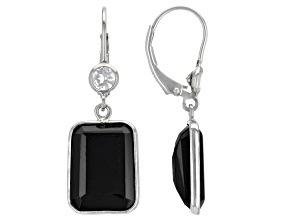Pre-Owned Black Spinel Rhodium Over Silver Dangle Earrings 12.40ctw
