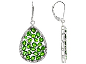 Pre-Owned Green Chrome Diopside Rhodium Over Sterling Silver Earrings 7.49ctw
