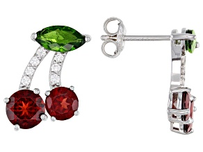 Pre-Owned Garnet Rhodium Over Sterling Silver Cherry Earrings 3.85ctw