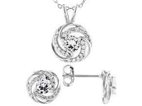 Pre-Owned White Cubic Zirconia Rhodium Over Silver Loveknot Pendant With Chain And Stud Earrings 2.6