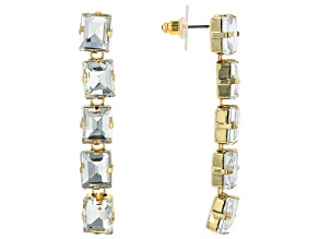 Pre-Owned Gold Tone White Crystal Earrings
