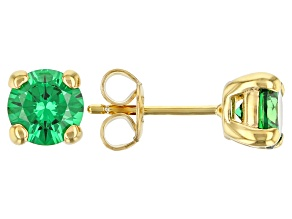 Pre-Owned Green Cubic Zirconia 18K Yellow Gold Over Sterling Silver Earrings 2.70ctw