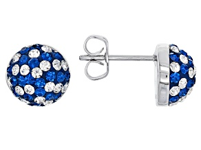 Pre-Owned  Crystal Blue And White Stud Earrings